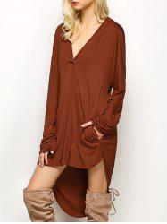 Plunge Long Sleeve High Low Casual Dress