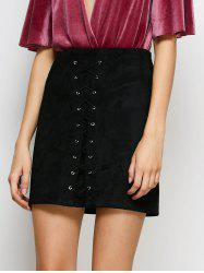 Faux Suede Lace-Up Bodycon Skirt -