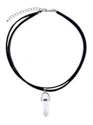Faux Leather Rope Gem Pendant Necklace - WHITE AND BLACK