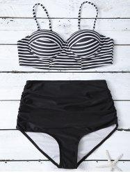 Cami Striped High Waist Bikini Set - BLACK