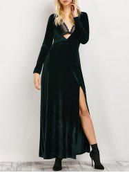 High Slit Long Sleeve A-Line Dress