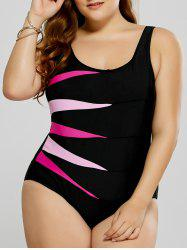 Plus Size Graphic Fitted One-Piece Swimsuit - ROSE MADDER 4XL
