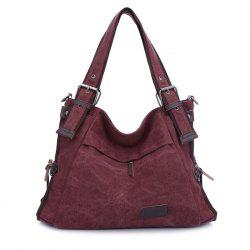 Canvas Buckle Strap Shoulder Bag
