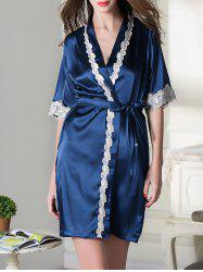 Lace Trim Belted Satin Short Robe