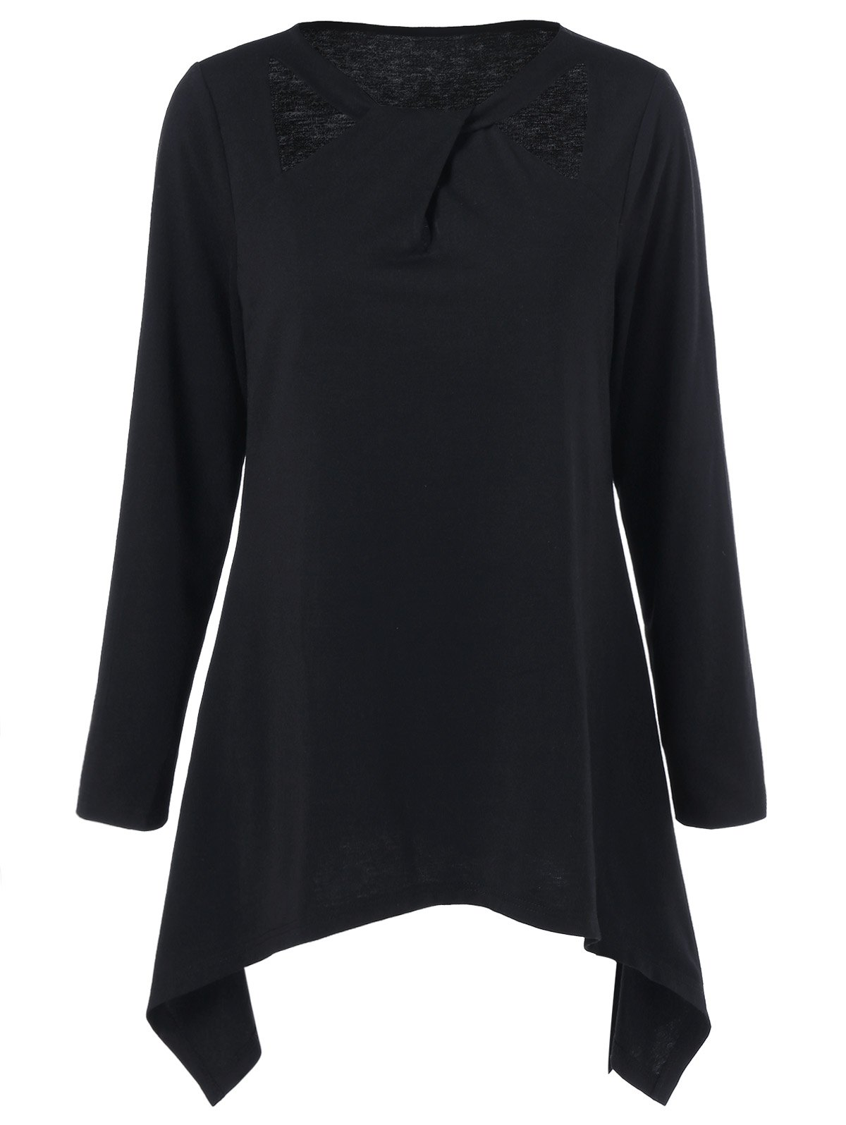 Cut Out Asymmetrical Plus Size TeeWOMEN<br><br>Size: 3XL; Color: BLACK; Material: Polyester; Shirt Length: Long; Sleeve Length: Full; Collar: Jewel Neck; Style: Streetwear; Season: Fall,Spring; Pattern Type: Solid; Weight: 0.370kg; Package Contents: 1 x Tee;
