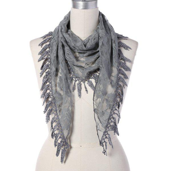 Discount Travel Leaf Tassel Lace Triangle Scarf
