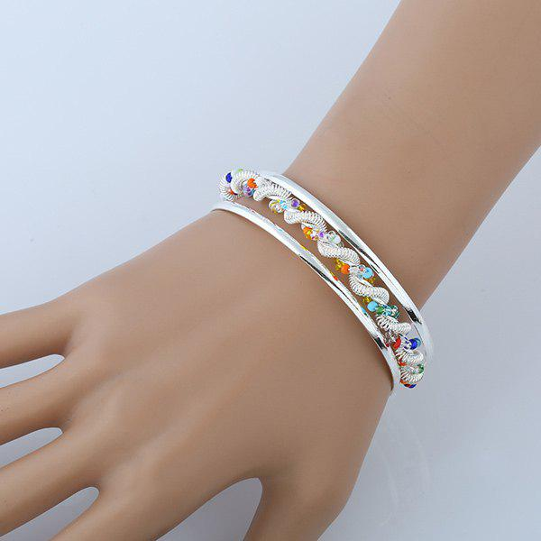 Hollow Out Beaded Twisted Spring Cuff BraceletJEWELRY<br><br>Color: SILVER; Item Type: Cuff Bracelet; Gender: For Women; Chain Type: Others; Material: Acrylic; Metal Type: Alloy; Style: Hipster; Shape/Pattern: Solid; Length: Diameter:6.5CM; Weight: 0.060kg; Package Contents: 1 x Bracelet;