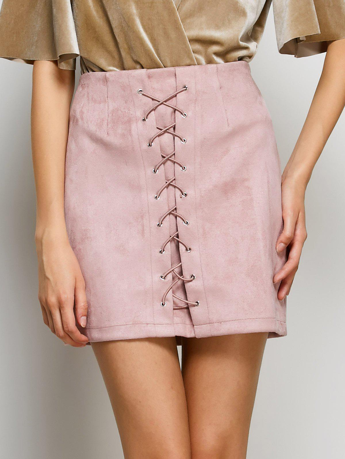 Chic Faux Suede Lace-Up Bodycon Skirt