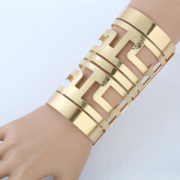 Metal Cut Out Long Open Cuff BraceletJEWELRY<br><br>Color: GOLDEN; Item Type: Cuff Bracelet; Gender: For Women; Chain Type: Others; Metal Type: Alloy; Style: Hipster; Shape/Pattern: Solid; Length: Diameter:6.5CM; Weight: 0.130kg; Package Contents: 1 x Bracelet;