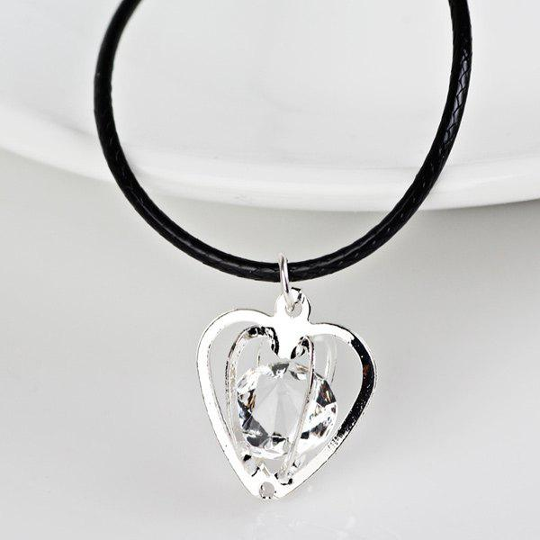Rhinestone Heart PU Leather Rope NecklaceJEWELRY<br><br>Color: SILVER; Item Type: Pendant Necklace; Gender: For Women; Style: Trendy; Shape/Pattern: Heart; Weight: 0.040kg; Package Contents: 1 x Necklace;
