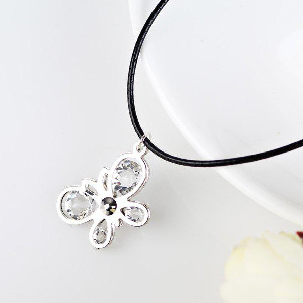 Rhinestone Butterfly PU Leather Rope NecklaceJEWELRY<br><br>Color: SILVER; Item Type: Pendant Necklace; Gender: For Women; Style: Trendy; Shape/Pattern: Insect; Weight: 0.050kg; Package Contents: 1 x Necklace;