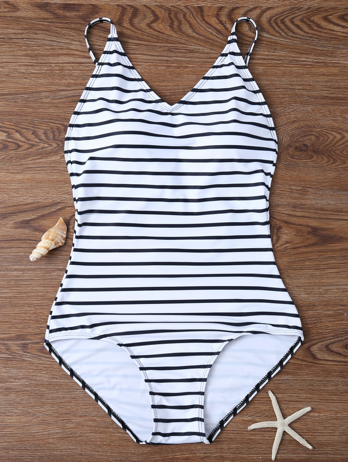 Fashion Backless Striped V Neck One Piece Swimsuit
