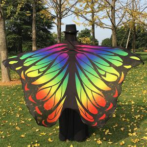 Gradient Color Chiffon Butterfly Wing Scarf Cape - Yellow
