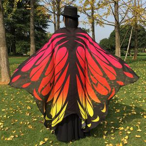 Gradient Color Chiffon Butterfly Wing Scarf Cape - RED