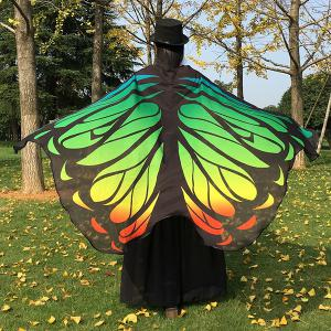 Gradient Color Chiffon Butterfly Wing Scarf Cape - Green