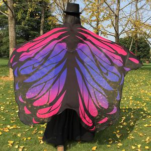 Gradient Color Chiffon Butterfly Wing Scarf Cape - Tutti Frutti