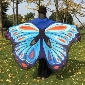 Printed Butterfly Wing Cape Chiffon Scarf