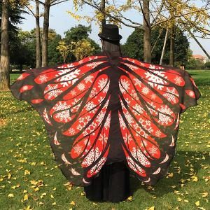 Christmas Snowflake Butterfly Chiffon Wing Cape - Red - 130*200cm