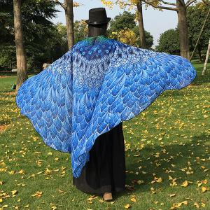 Feather Printed Chiffon Peacock Tail Cape - BLUE