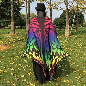 Colorful Ombre Butterfly Wing Chiffon Cape -