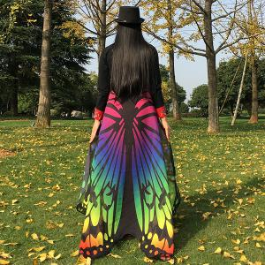 Colorful Ombre Butterfly Wing Chiffon Cape - COLORFUL