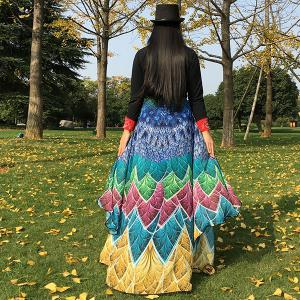 Multicolor Feather Printed Chiffon Peacock Tail Cape -