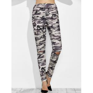 Camo Print Distressed High Waisted Leggings