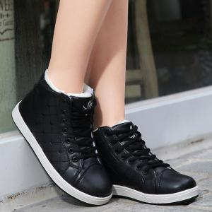 Flocking High Top Heart Embroidery Sneakers -