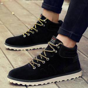 Suede Eyelet Lace Up Short Boots -
