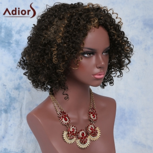 Short Afro Curly Side Bang Synthetic Capless Wig - COLORMIX