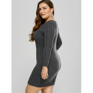 Plus Size Mini Cable Knit Bodycon Casual Jumper Dress -