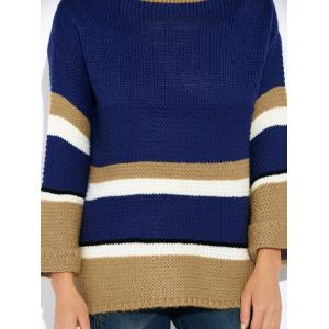 Flare Sleeve Striped Sweater - BLUE ONE SIZE