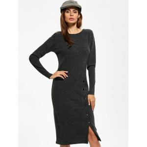 Button Detailed Long Sleeve Midi Dress -