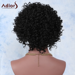 Faddish Side Parting Black Short Fluffy Curly Women's Synthetic Wig -