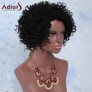 Faddish Side Parting Black Short Fluffy Curly Women's Synthetic Wig - BLACK
