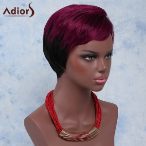 Stylish Red Mixed Black Short Fluffy Capless Straight Full Bang Synthetic Wig For Women - COLORMIX