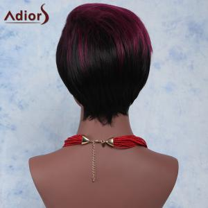 Stylish Red Mixed Black Short Fluffy Capless Straight Full Bang Synthetic Wig For Women -