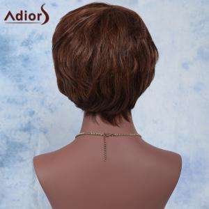 Outstanding Brown Mixed Short Fluffy Straight Side Bang Synthetic Wig - COLORMIX