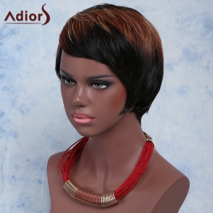 Fashion Mixed Color Short Straight Side Bang Women's Synthetic Wig - COLORMIX