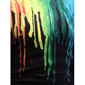 Long Sleeve Paint Dripping Sweatshirt - BLACK 2XL