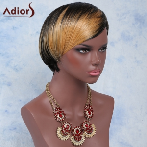 Short Side Bang Mixed Color Outstanding Synthetic Hair Wig For Women - COLORMIX