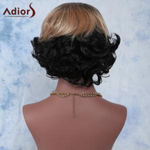 Elegant Short Mixed Color Side Bang Synthetic Fluffy Natural Wave Wig For Women -