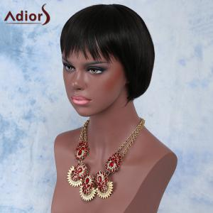 Attractive Black Straight Full Bang Short Synthetic Wig For Women -
