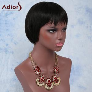 Attractive Black Straight Full Bang Short Synthetic Wig For Women - BLACK