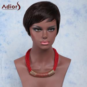 Fashion Straight Short Black Brown Side Bang Synthetic Adiors Wig For Women - Black Brown