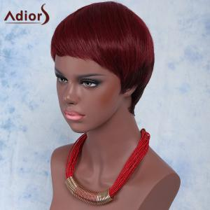 Outstanding Ultrashort Layered Capless Wine Red Straight Synthetic Adiors Wig For Women - WINE RED