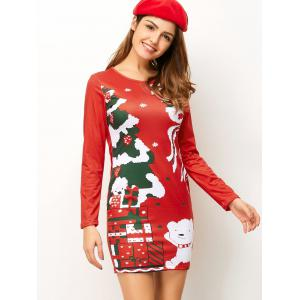 Christmas Tree Pattern Mini Long Sleeve Dress - RED XL
