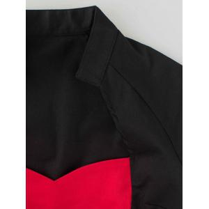Two Tone Pencil Dress - RED WITH BLACK 2XL