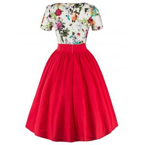Single Breasted Floral 1950s Swing Dress - RED 2XL