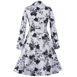 Long Sleeve Monochrome Tea Length Vintage Dress - WHITE/BLACK 2XL